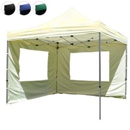 Nexos Hochwertiger Falt-Pavillon Partyzelt mit 2 Seitenteilen PROFI Ausführung für Garten Terrasse Feier Markt als Unterstand Plane wasserdichtes Dach 3 x 3 m champagner -